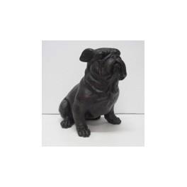 GRAND Bulldog marron en résine